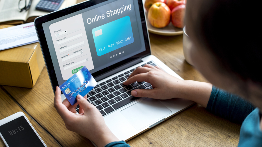 People purchsing goods e-commerce online shopping